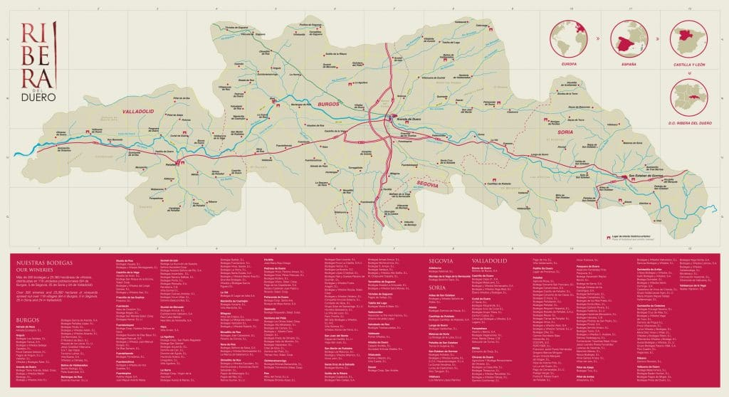 Ribera del duero mapa